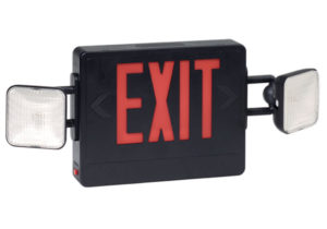 Fireguard Combination Exit Emergency Light Black Omaha